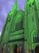 Armagh Cathedral, illuminated in green in preparation for St. Patrick's Day!
