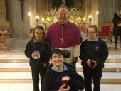Three very proud pupils receiving their gold awards from Archbishop Eamon Martin at the eight annual Armagh Diocesan Faith Award Ceremony held on Monday, 12th March.