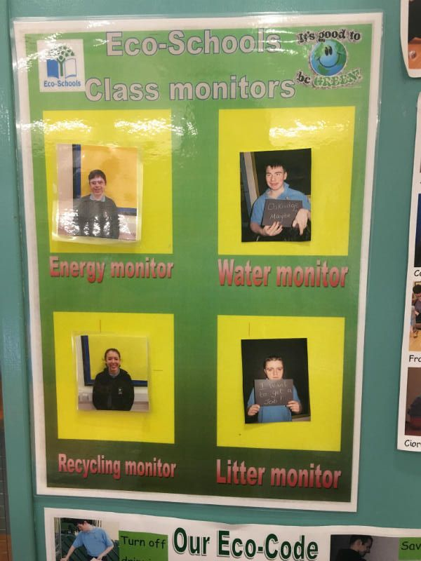 all classes have their own Eco-School monitors